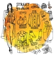Girl and street fashion clothing setSketchy in vector image