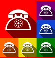 retro telephone sign  set of icons with vector image