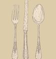 Retro cutlery set vector image vector image