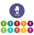 baseball glove award icons set flat vector image