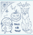 hand drawn halloween doodles collection vector image
