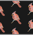 seamless pattern wth beautiful hand drawn red bird vector image