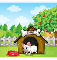 A bulldog outside its dog house with a dog food vector image vector image