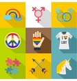 Sexual minorities icons set flat style vector image