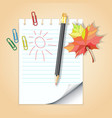 School notepad with pencil vector image vector image
