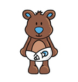 Boy bear wearing diapers vector image vector image