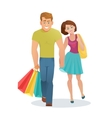 couple man and woman walking with shopping bags vector image