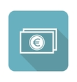 Euro banknote icon square vector image