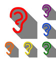 human ear sign set of red orange yellow green vector image