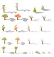 isometric set of different low poly trees and vector image