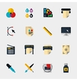 Polygraphy flat icons vector image