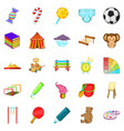 schoolyard icons set cartoon style vector image