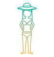 standing woman with swinsuit bikini and hat vector image