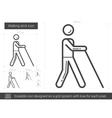 Walking stick line icon vector image