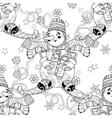 Zentangle doodle hand drawn Christmas Snowman ski vector image