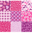 Seamless heart fabric pattern set vector image