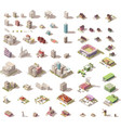 isometric low poly buildings and houses vector image