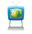 A blue television with a fish vector image vector image