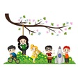 Children playing under a tree branch vector image