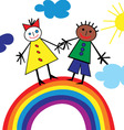 child rainbow vector image