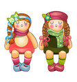 beautiful stuffed dolls girls with long braids vector image