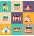 Colorful residential house set in flat design vector image
