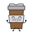 cup to go kawaii cartoon vector image