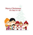 cute family singing carols at christmas night vector image