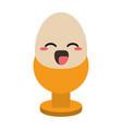 egg in cup cute kawaii cartoon vector image