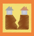 flat shading style icon house earthquake vector image