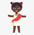 happy little afro-american girl in flat design vector image