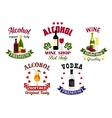 Alcohol drinks cocktail bar emblems set vector image vector image