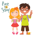Back to school print design with two kids vector image