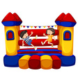 Boy and girl bouncing on the funhouse vector image