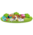 A group of dogs gathering in front of their house vector image