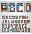 Alphabet letters and numbers in Mayan style vector image