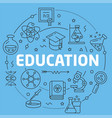 blue line flat circle education vector image