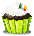 A big chocolate cupcake with the Ireland flag vector image