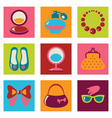 Set of woman fashion flat icons vector image vector image
