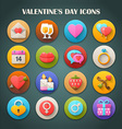 Valentines Day Icons with Long Shadow vector image vector image