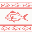 Knitted seamless pattern with fish vector image