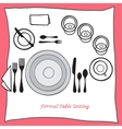 Dining table setting proper arrangement of vector image
