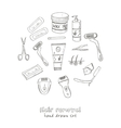 Doodle Set of hair removal tools vector image