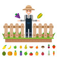 isolated vegetables set happy gardeners to grow vector image