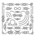 Nautical rope knots decorative vintage vector image