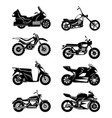 silhouette of motorcycles monochrome vector image