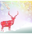 Christmas reindeer card background vector image vector image