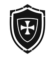 Shield with cross icon simple style vector image