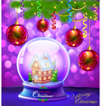Christmas Snow globe with a house vector image vector image