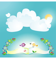 Blue background with the sun birds and flowers vector image